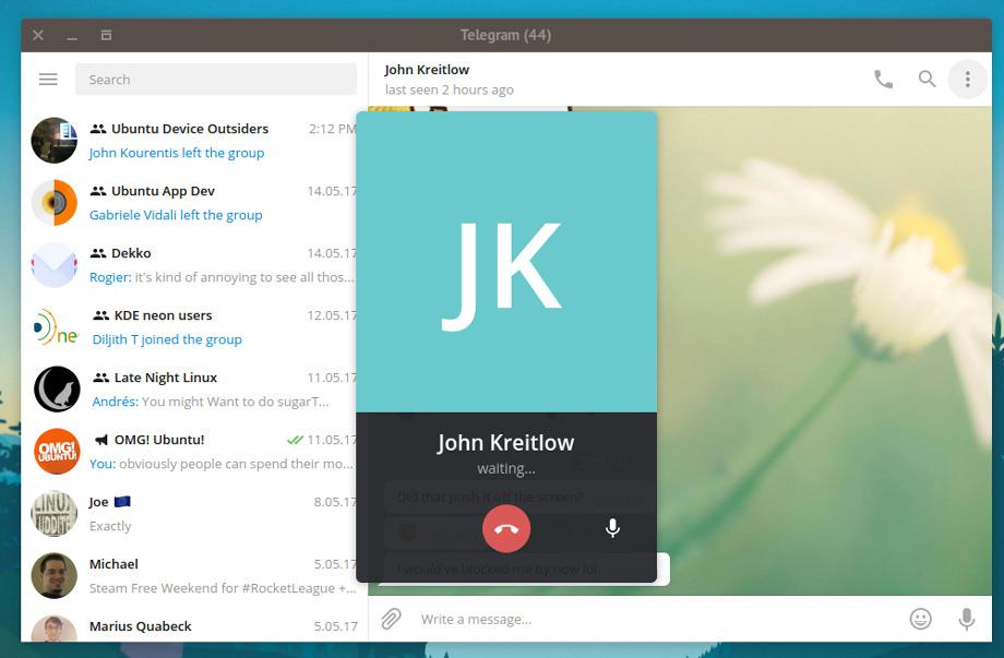 Десктопное приложение Telegram теперь имеет поддержку голосовых вызовов