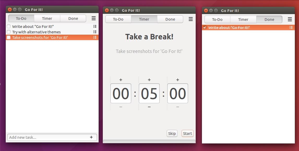 """""""Go For It!"""" – это простое приложения для создания списков в Linux со встроенным таймером"""