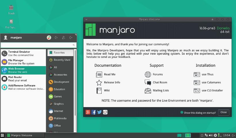 Xfce on Manjaro Linux