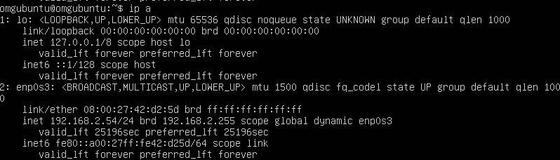 Использование «ip a» для поиска IP-адреса